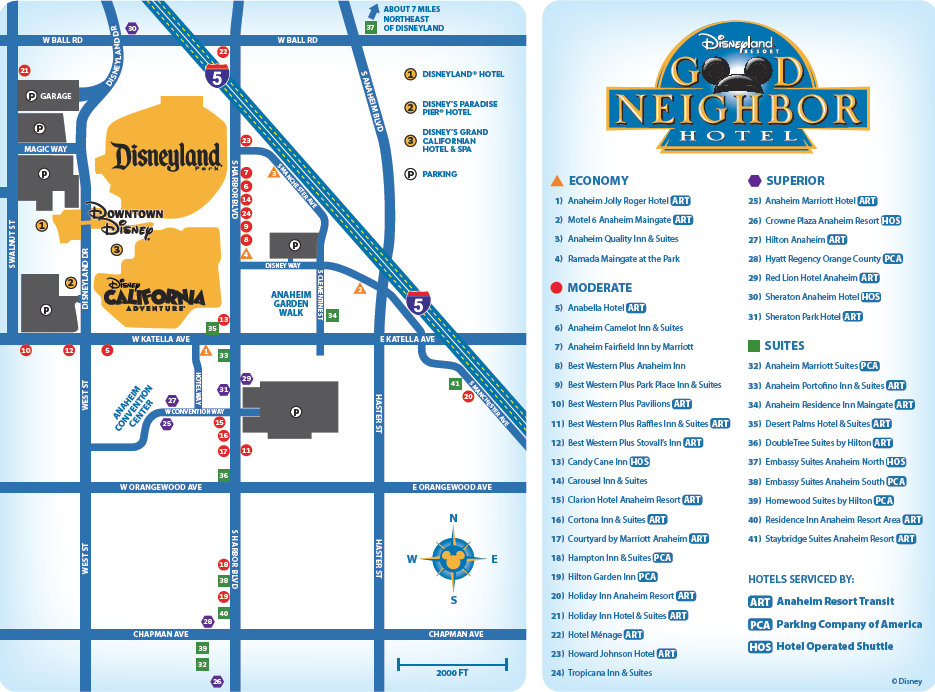 Map Of Hotels Near Disneyland